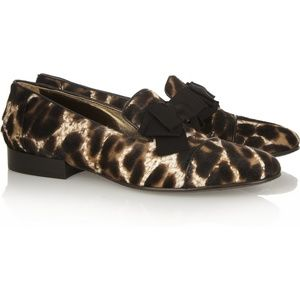Lanvin Calf Pony Hair Loafers Leopard 38
